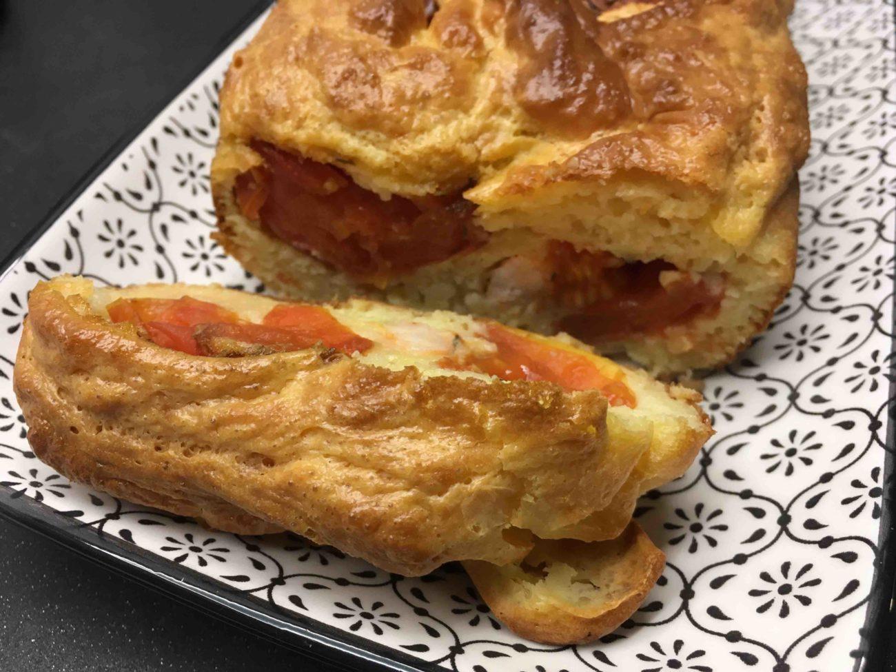 Cake aux gambas et aux tomates confites