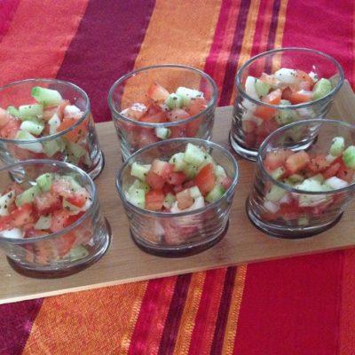 Tartare de tomates et concombre
