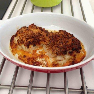 Recette dos de cabillaud en crumble de chorizo et parmesan